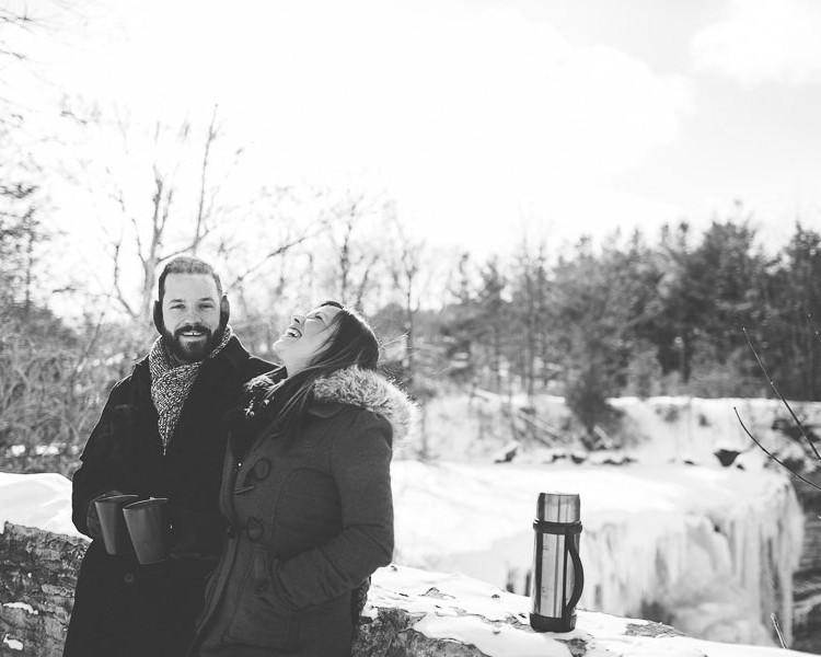 Winter engagement shoot at Balls Falls, Ontario, Canada. | Jessica Little Photography